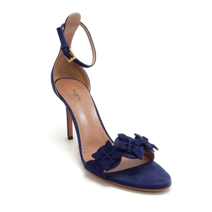 ALAÏA Blue Suede Cut Flower Appliqué Sandals