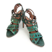 ALAÏA Green Lizard Cut Out Sandals