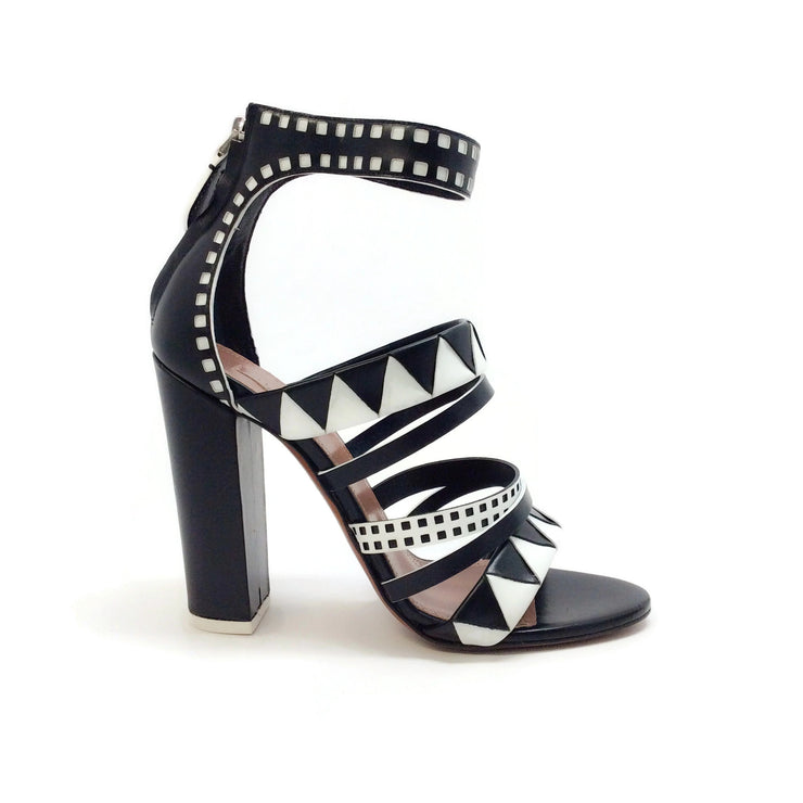 ALAÏA Black / White Geometric Sandals