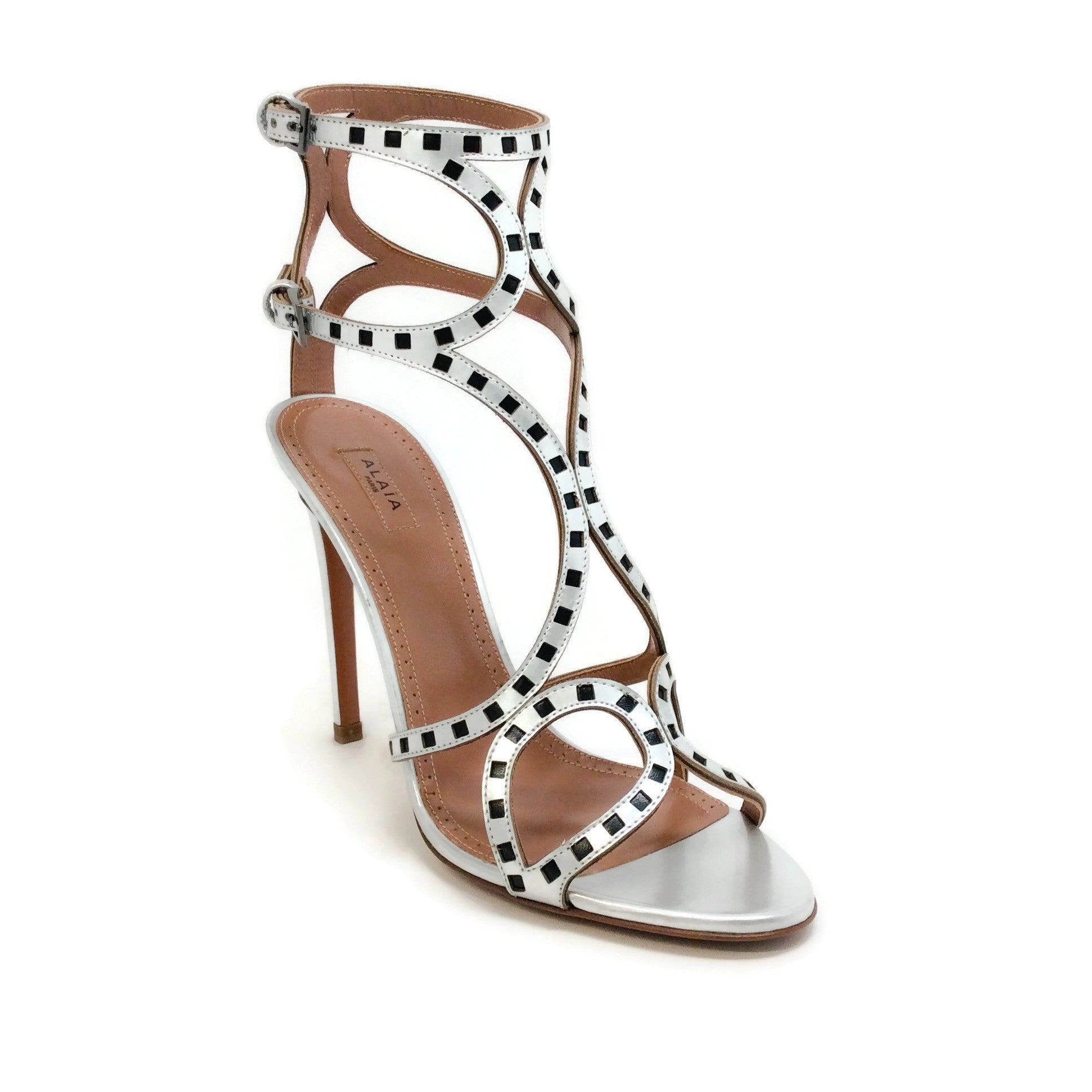 ALAÏA Silver / Black Square Cut Out Sandals