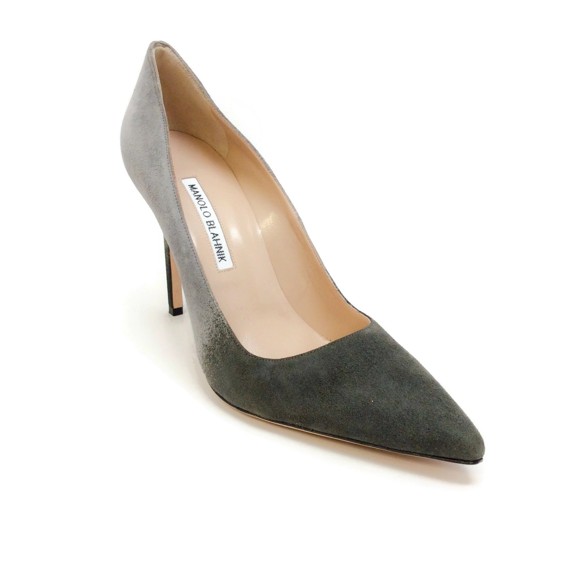 Manolo Blahnik Grey Ombre Suede Pumps