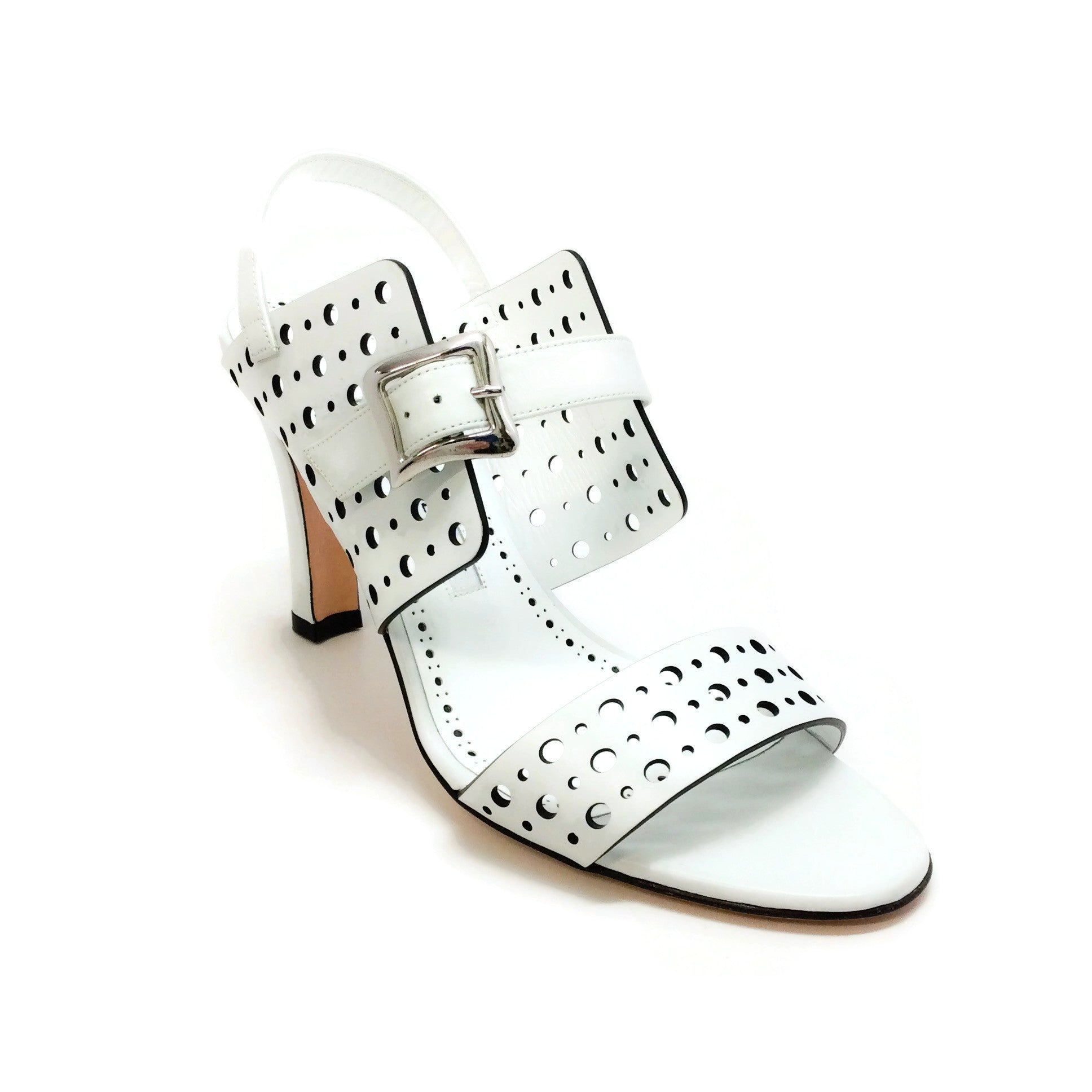 Manolo Blahnik White Piagetta 90 Cutout Sandals