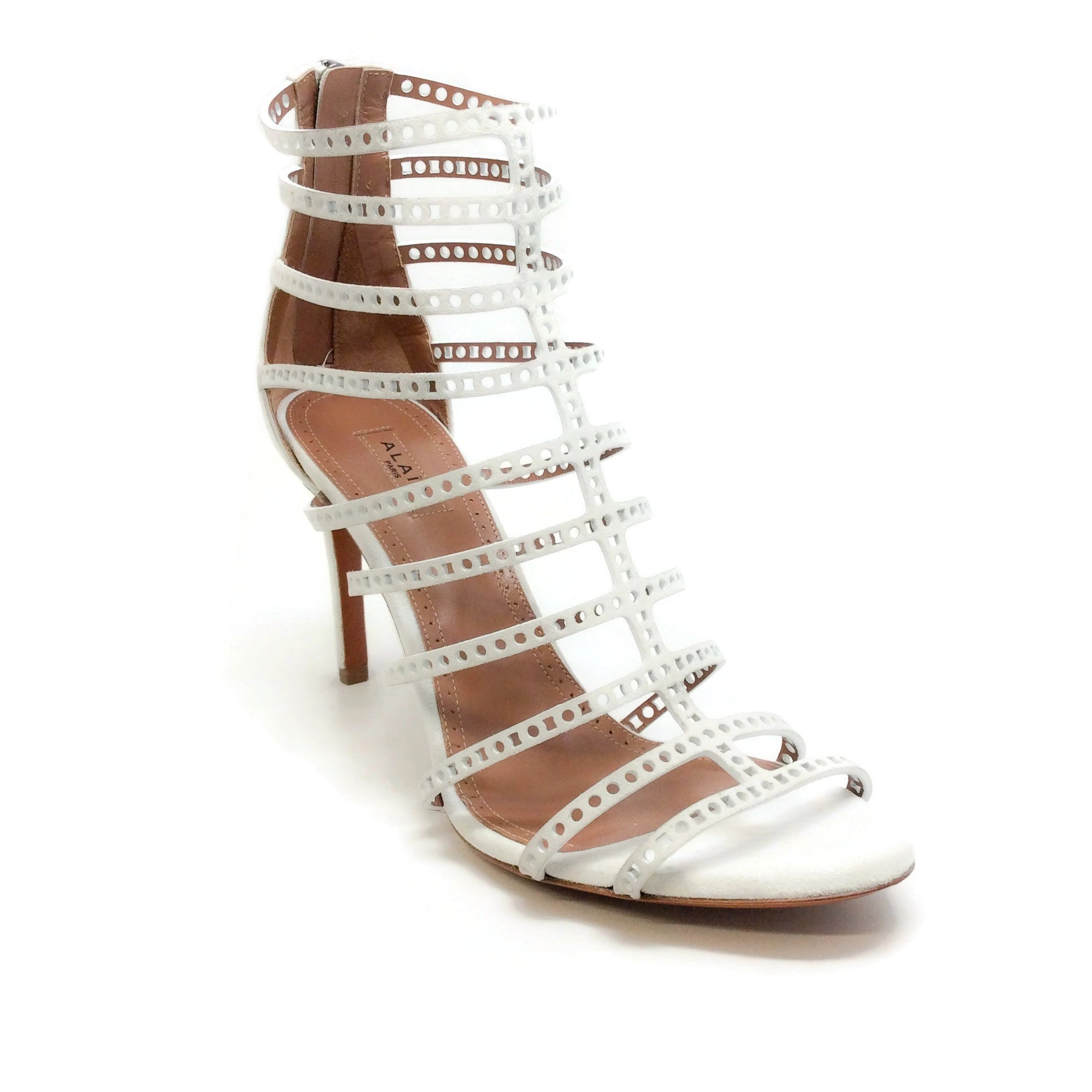 ALAÏA White Perforated Cage Sandals
