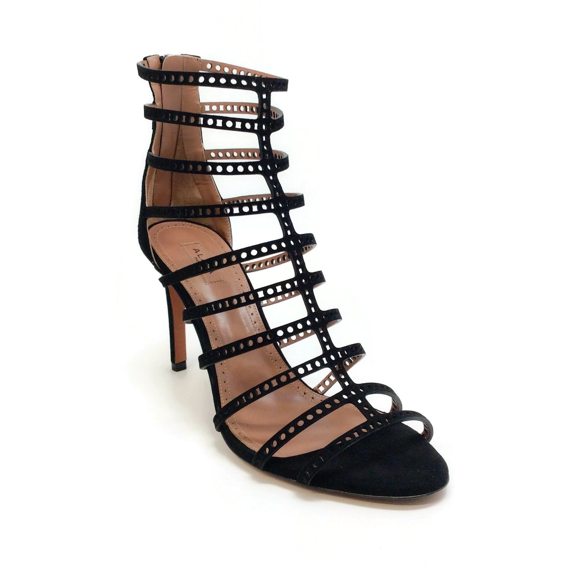 ALAÏA Black Perforated Cage Sandals