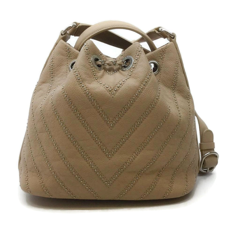 Chanel Bucket Beige Calfskin Leather Shoulder Bag