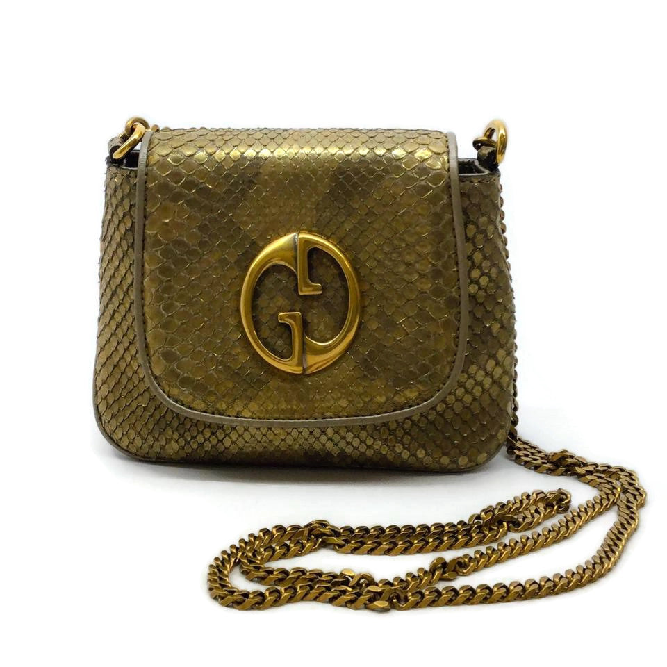 Gucci 1973 Gold Python Shoulder Bag