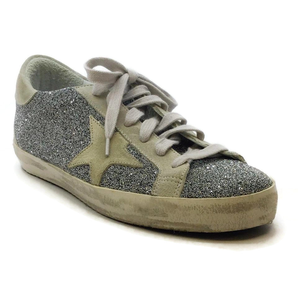 Golden Goose Deluxe Brand Silver Crystal Super Star Sneakers