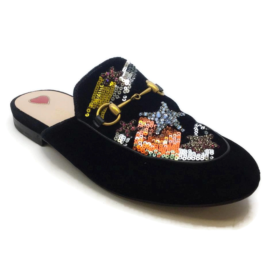 Gucci Black Princetown Sequined Velvet Mules/Slides