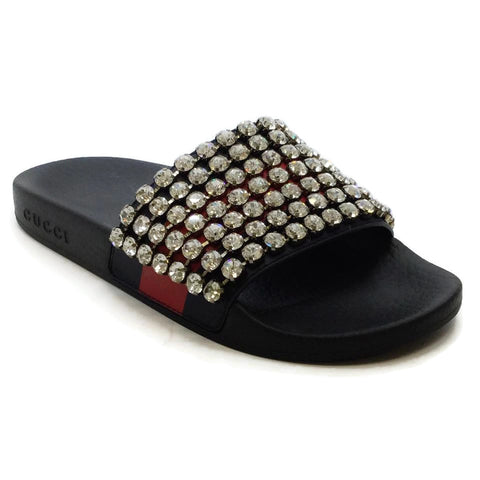 Gucci Black Crystal Embellished Sandals