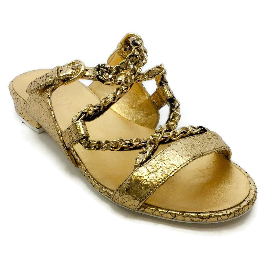 Chanel Gold Crackled Metallic Sandals