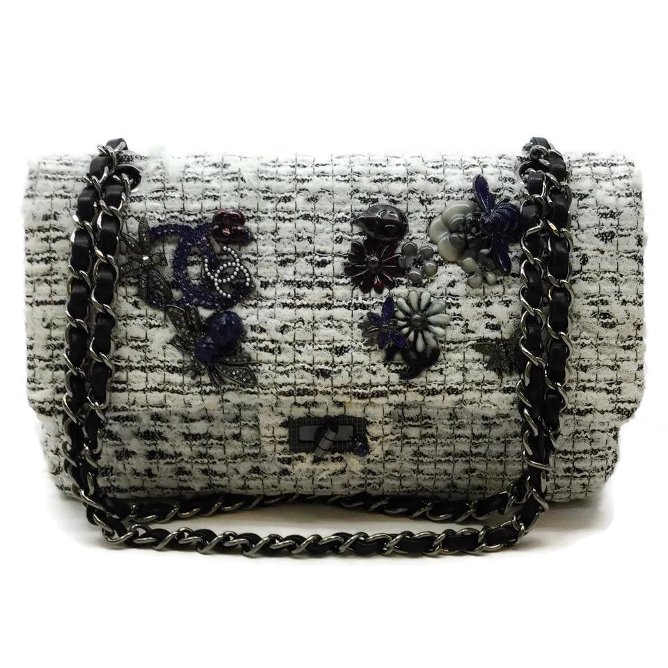 Chanel Garden Charms White / Black Tweed Shoulder Bag