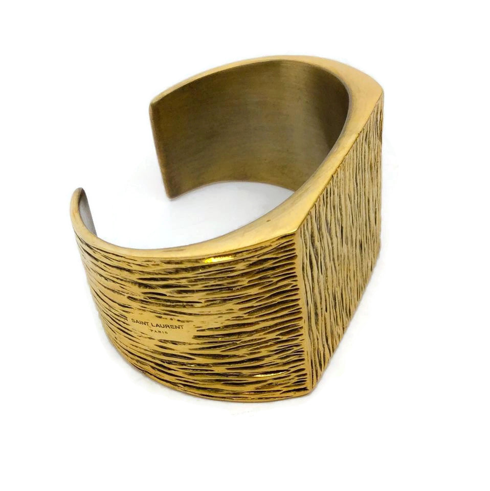 Saint Laurent Gold Textured Cuff Bracelet
