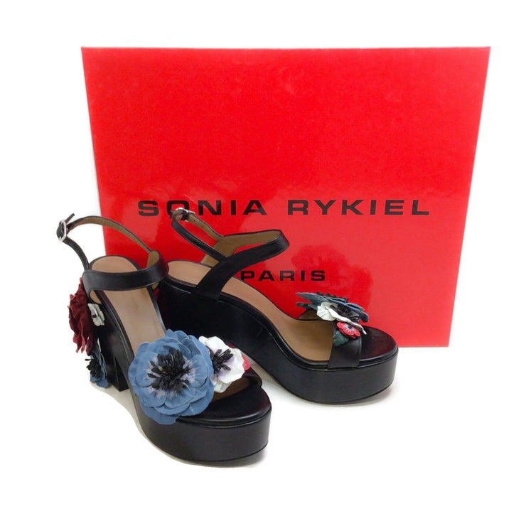 Sonia Rykiel Black Multi Flower Platform Wedge Sandals