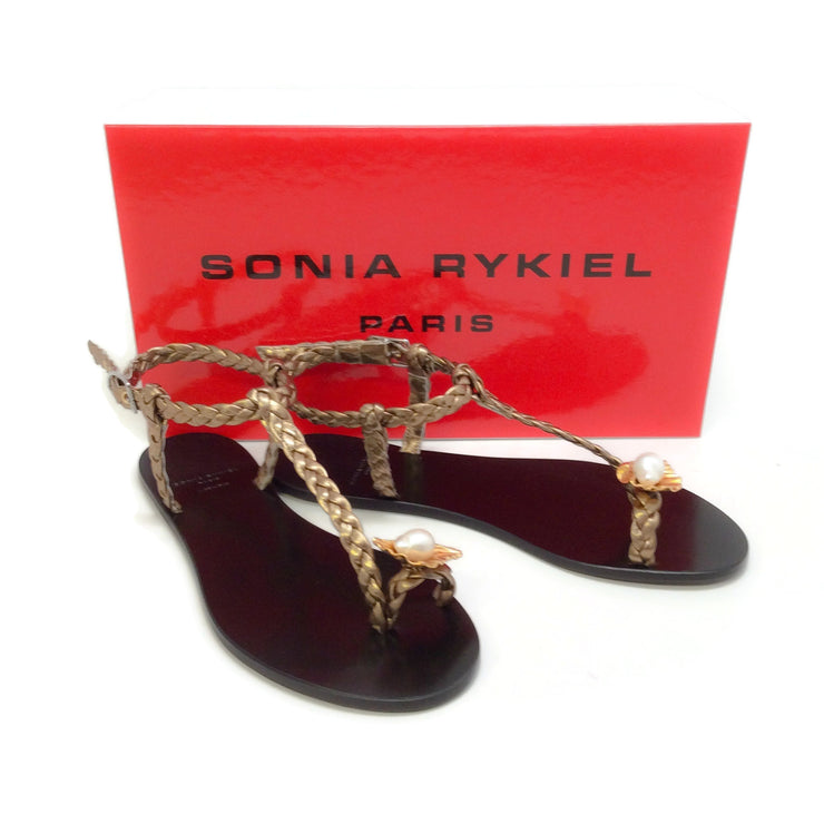 Sonia Rykiel Bronze Braided Strapy Pearl Shell Sandals