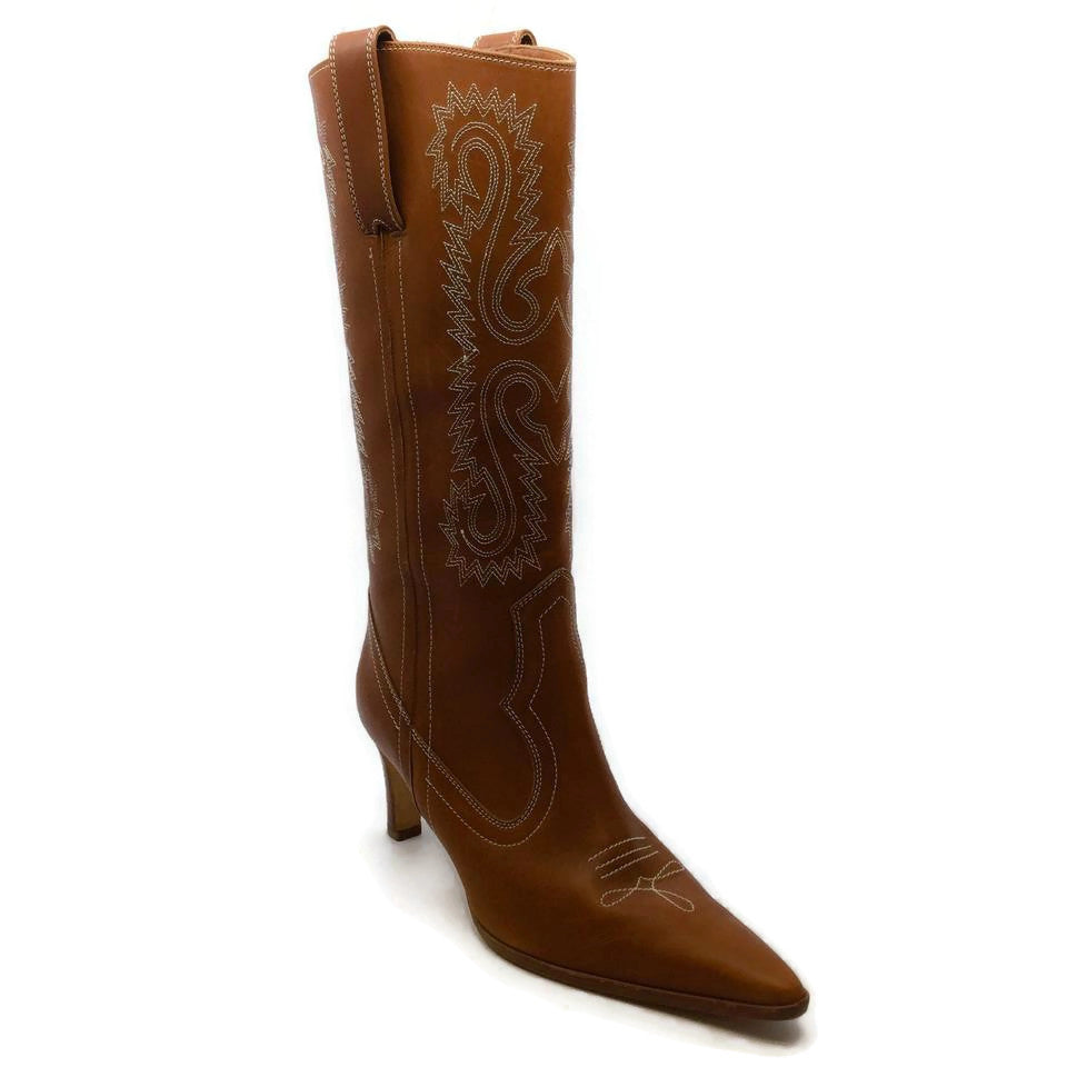 Manolo Blahnik Brown Embroidered Cowboy Boots/Booties