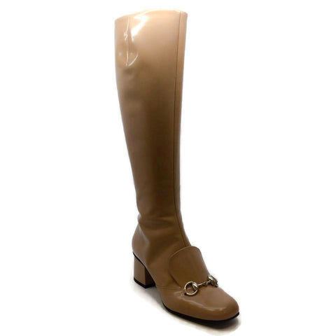 Gucci Nude Horsebit Patent Leather Boots/Booties
