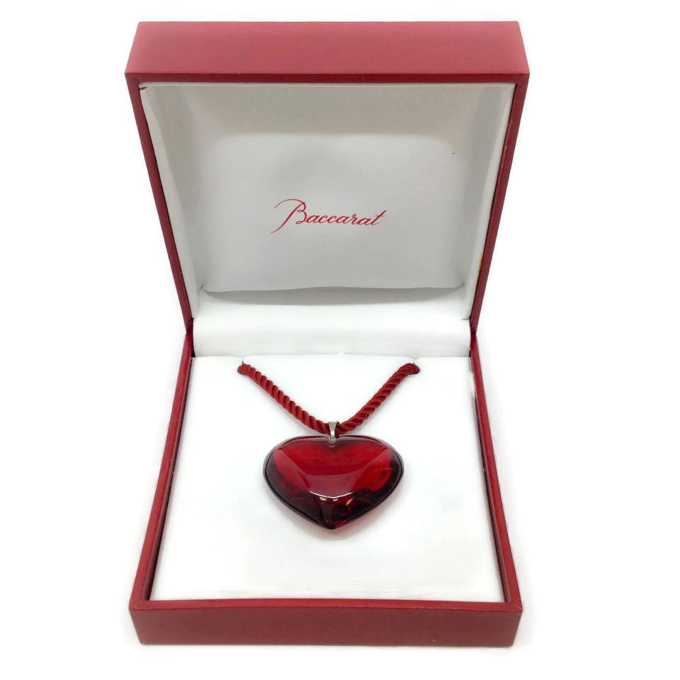 Baccarat Red Ruby Crystal Heart Necklace