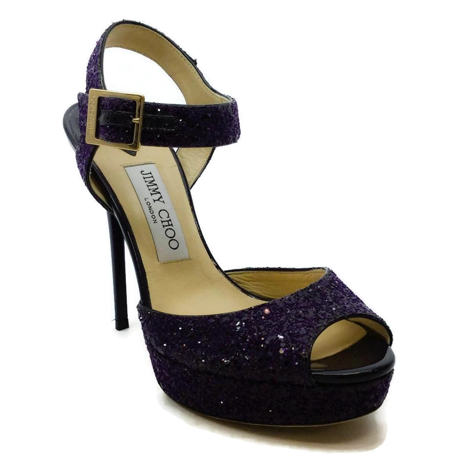 Jimmy Choo Purple Glitter Stiletto Platforms
