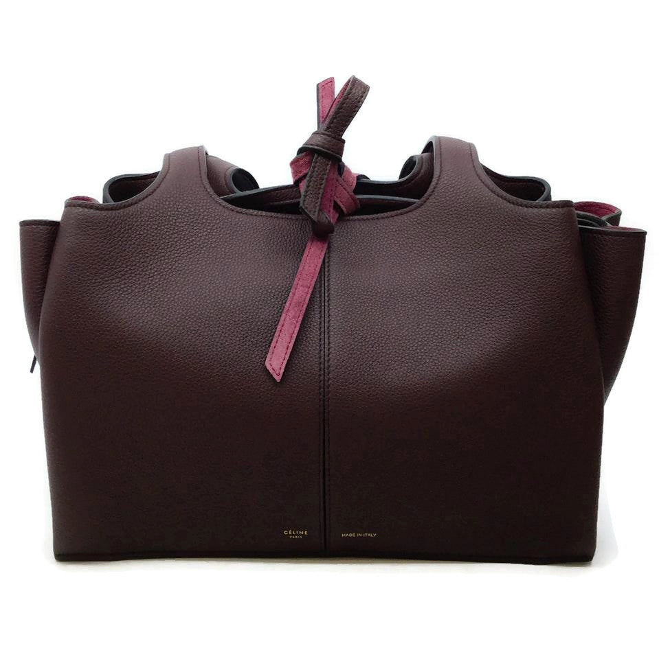 Céline Trifold Burgundy Leather Tote