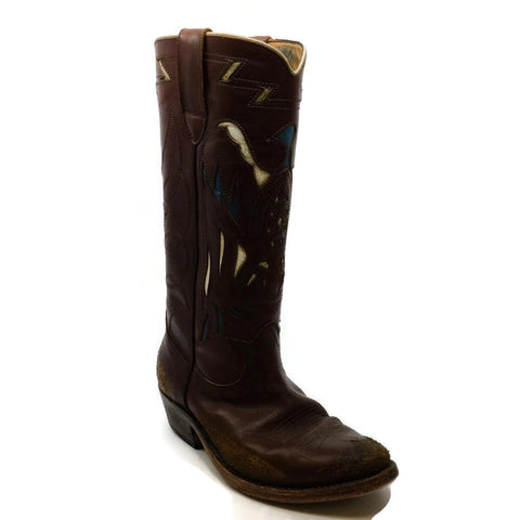Golden Goose Deluxe Brand Brown / Blue Distressed Cowboy Boots