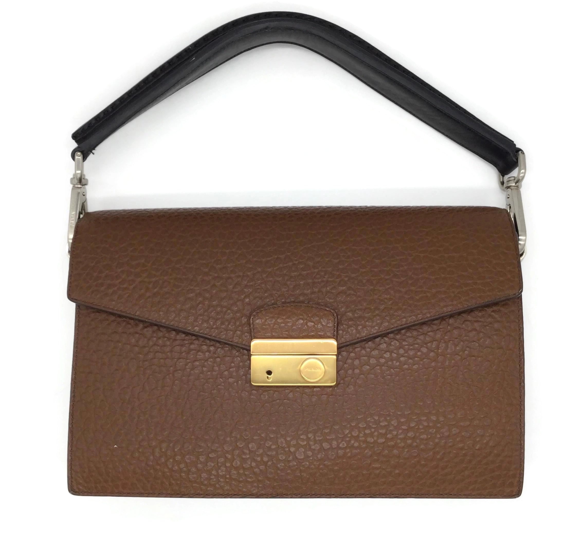 Prada Berlino Sound Brown Pebbled Leather Shoulder Bag