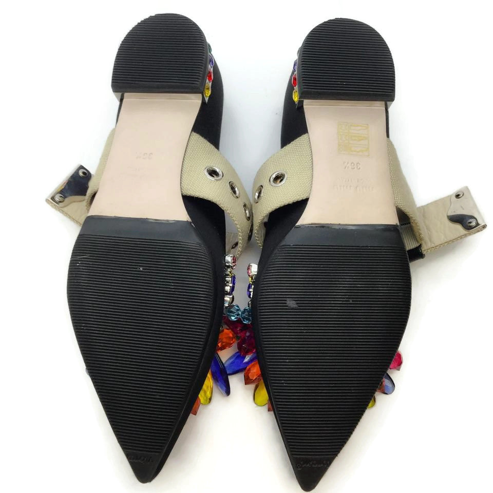 Miu Miu Black Multi Jeweled Satin Flats