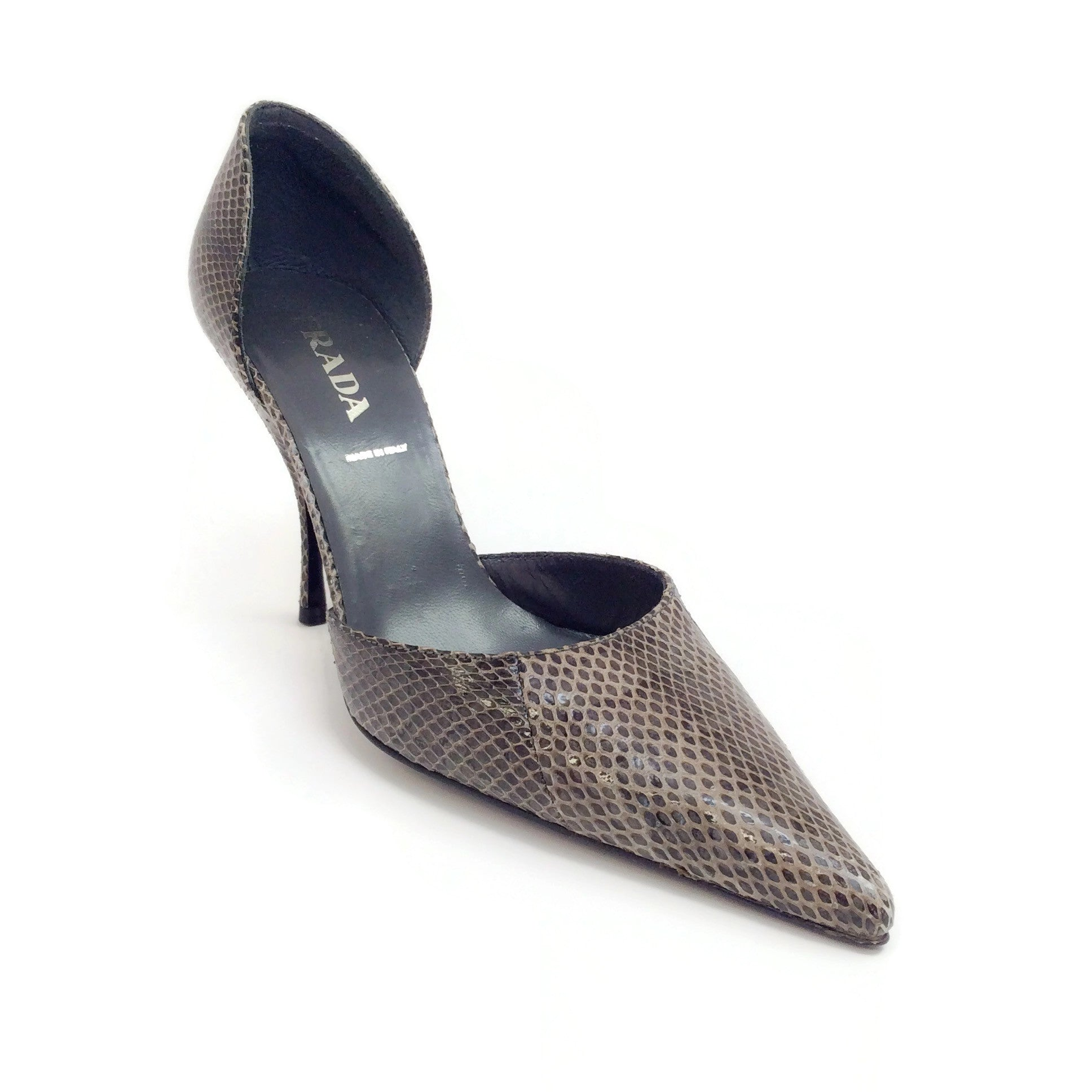 Prada Grey Lizard Pumps