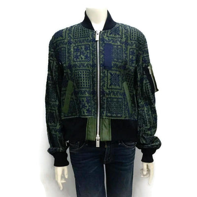 Sacai Olive and Navy Reyn Embroidered Bomber Jacket