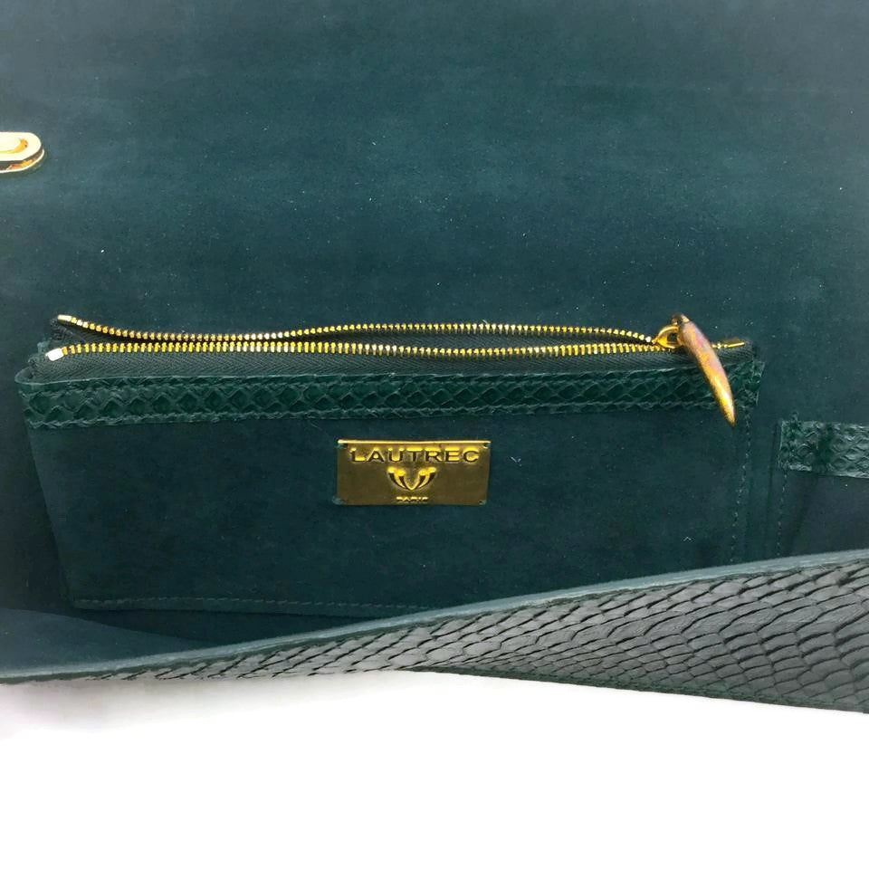 French Emerald Python Skin Leather Clutch