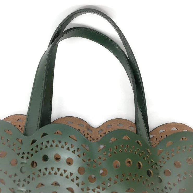 ALAÏA Laser Cut Dark Green Leather Tote