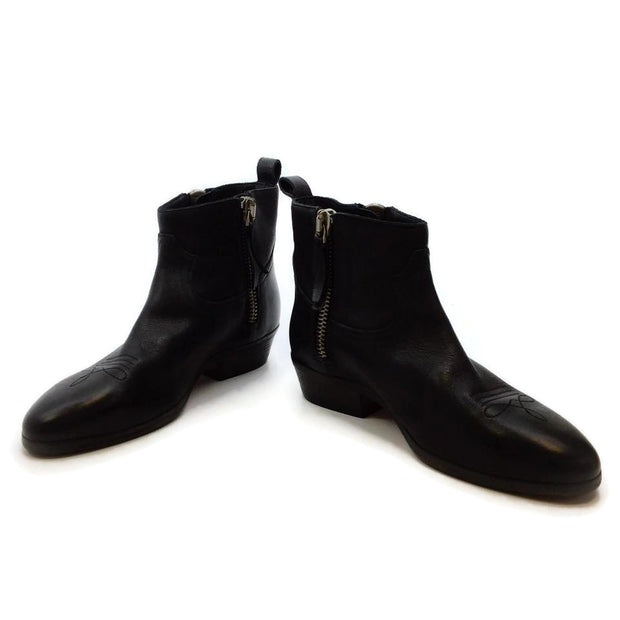 Golden Goose Deluxe Brand Black Viand Flat Leather Ankle Boots/Booties