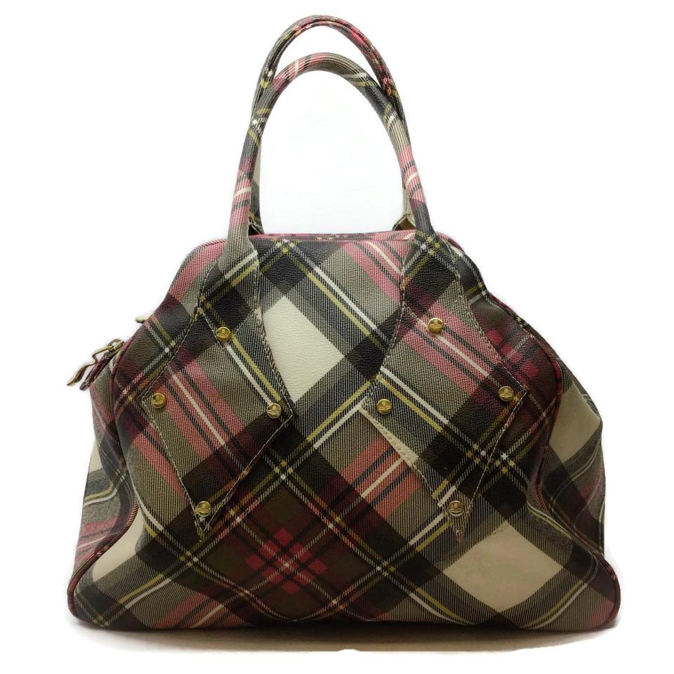 Vivienne Westwood Darby Yasmine Cream Plaid Leather Weekend/Travel Bag