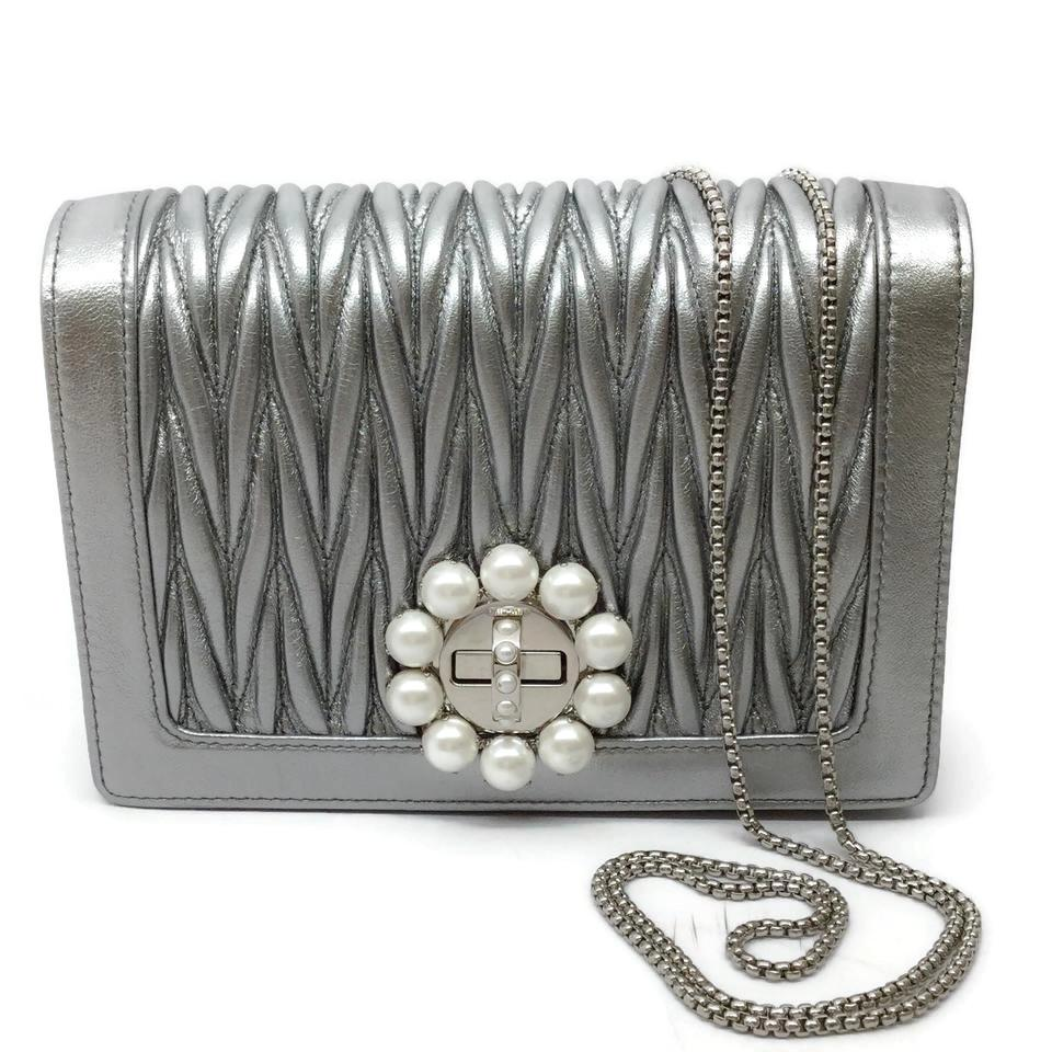Miu Miu Matelasse with Pearls Silver Leather Shoulder Bag