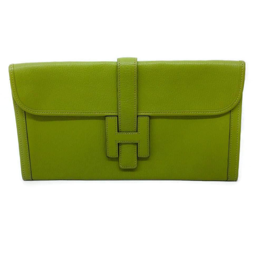 Hermès Jige Lime Green Leather Clutch