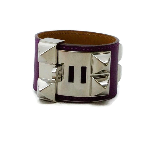 Hermès Purple Anemone Swift Collier De Chien Bracelet
