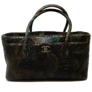 Chanel Green / Brown Multi Python Skin Cerf Tote