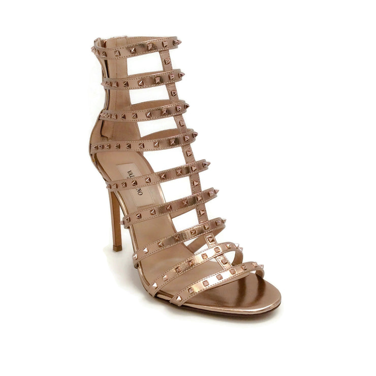 Valentino Rose Gold Rockstud Cage Sandals
