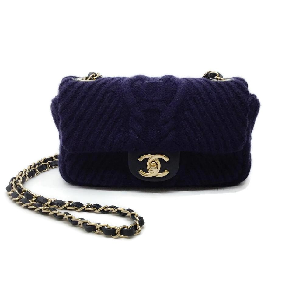 Chanel Classic Flap Mini Navy Knit / Leather Shoulder Bag