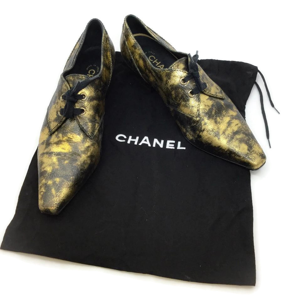 Chanel Black / Gold Square Toe Lace Up Booties