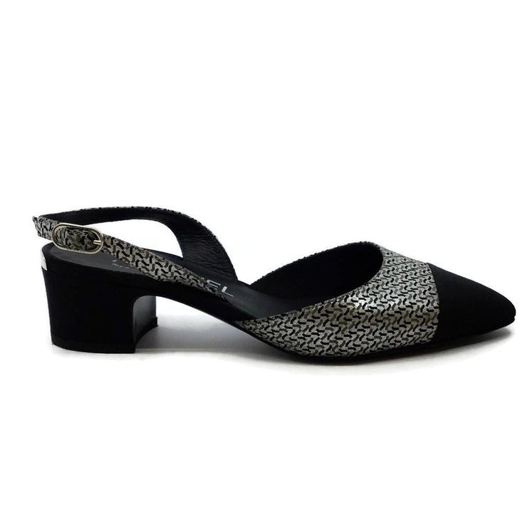 Chanel Black / Silver Printed Slingback Sandals