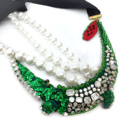 Muveil Green Multi Pearl and Rhinestone Crocodile Necklace