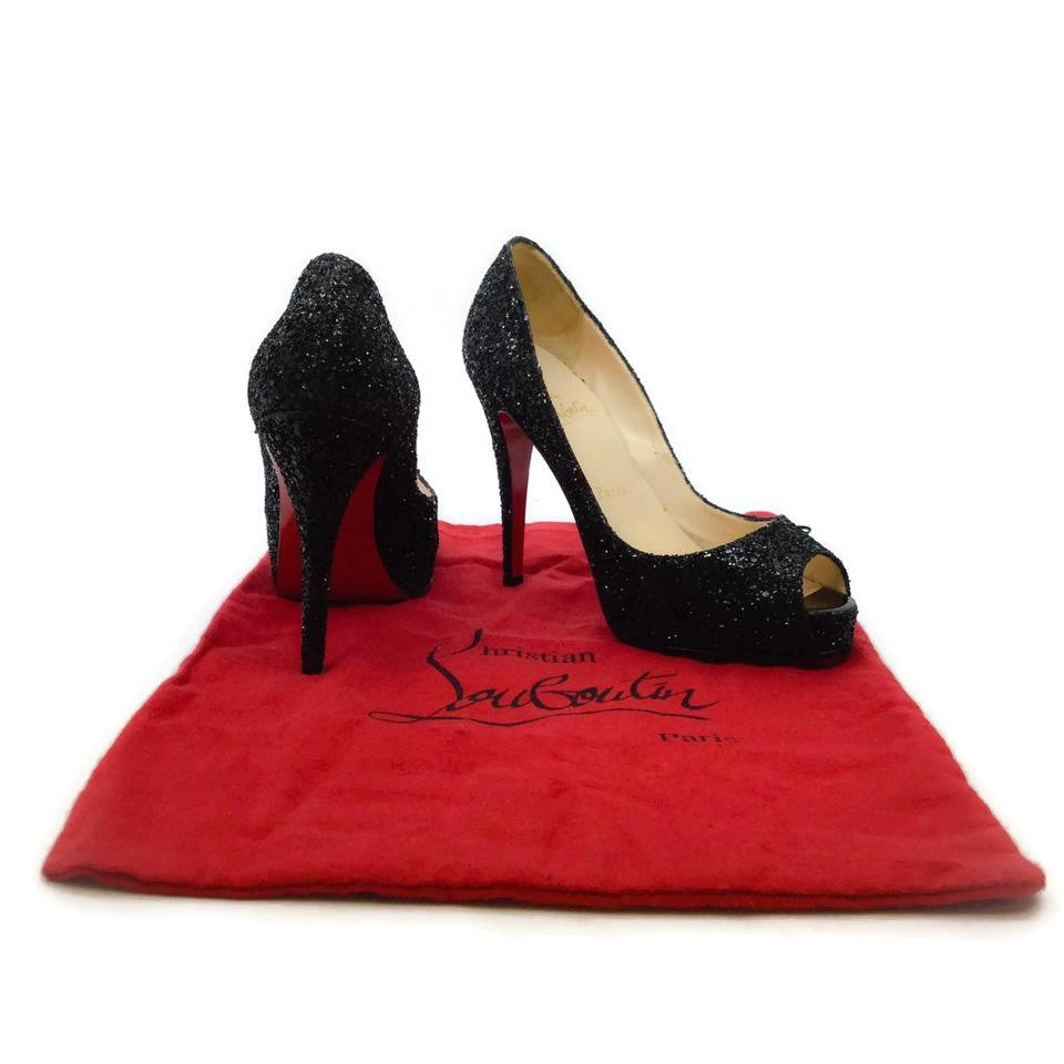 Christian Louboutin Black Sparkle Peep Toe Platform Pumps