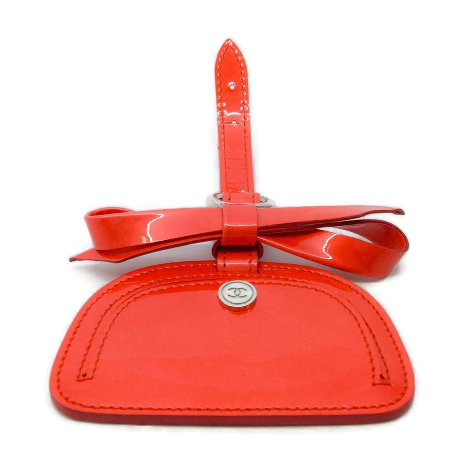 Chanel Coral Patent Leather Luggage Tag