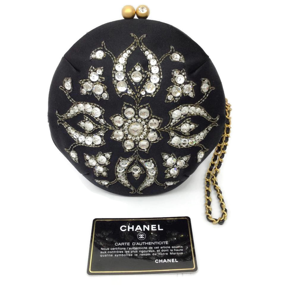 Chanel Round Bag Embroidered Black / Silver Satin