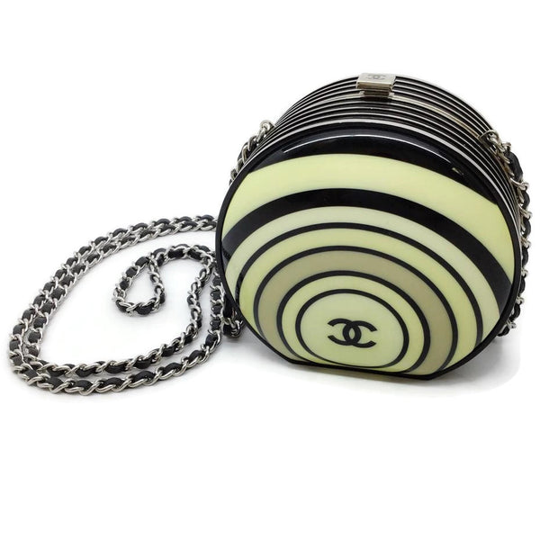 Chanel Minaudière Pillbox Black / Cream Resin Cross Body Bag
