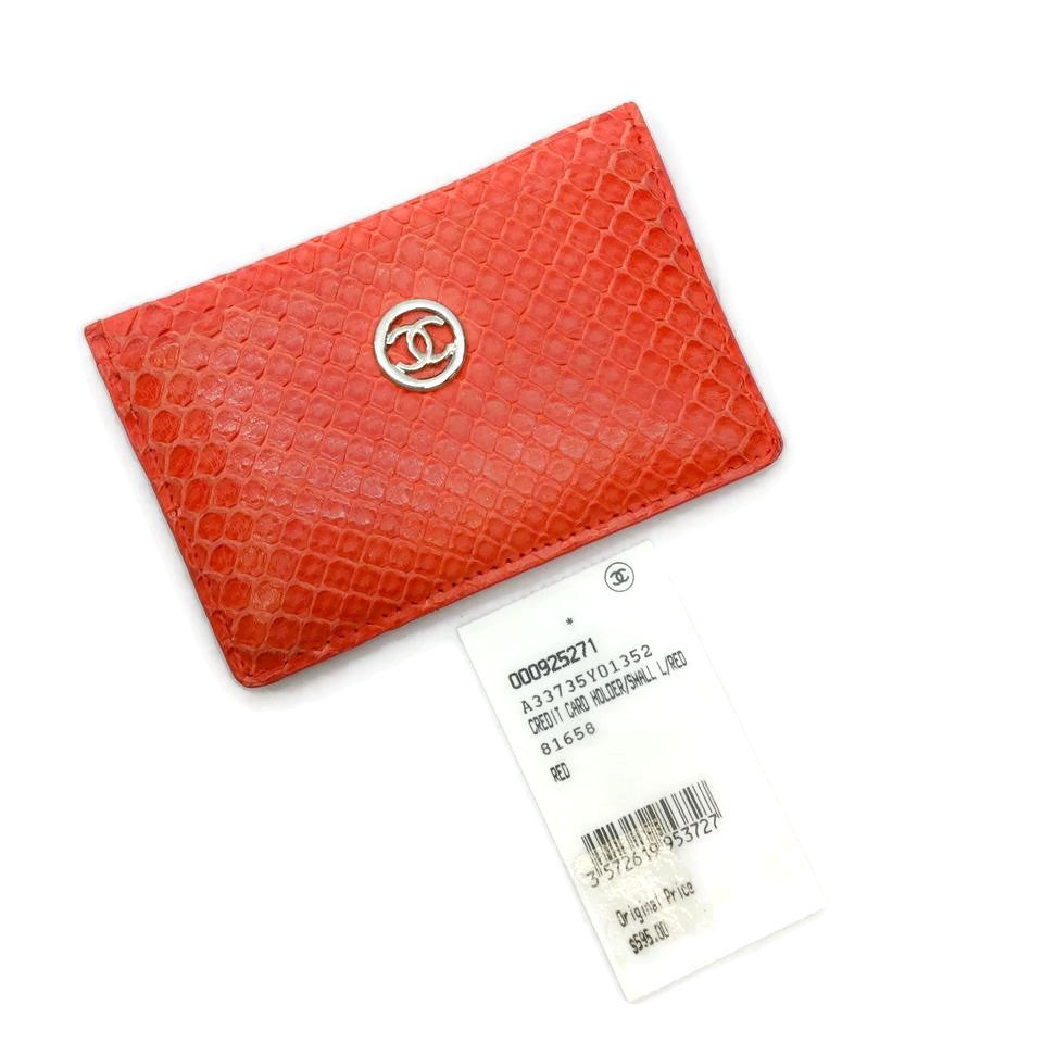 Chanel Coral Red Python Card Holder Wallet