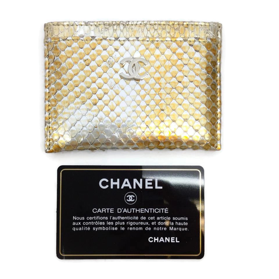 Chanel Gold Python Card Holder Wallet