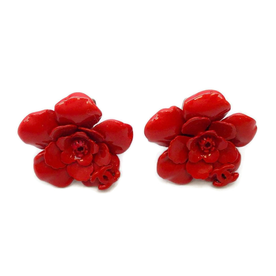 Chanel Red Enamel Sculpted Floral Clip On Earrings