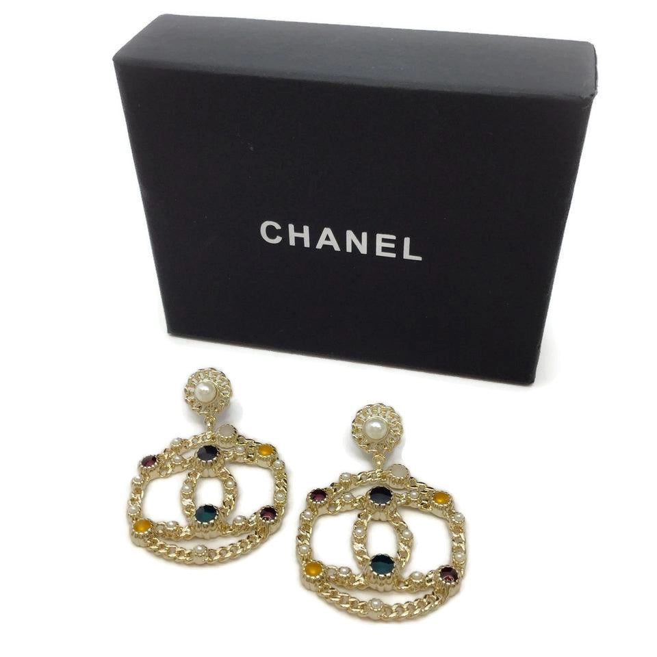 Chanel Gold Multi Stone Hoop with Pearl Earrings