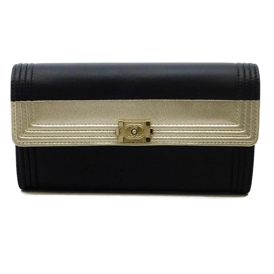 Chanel Black / Gold Boy Wallet